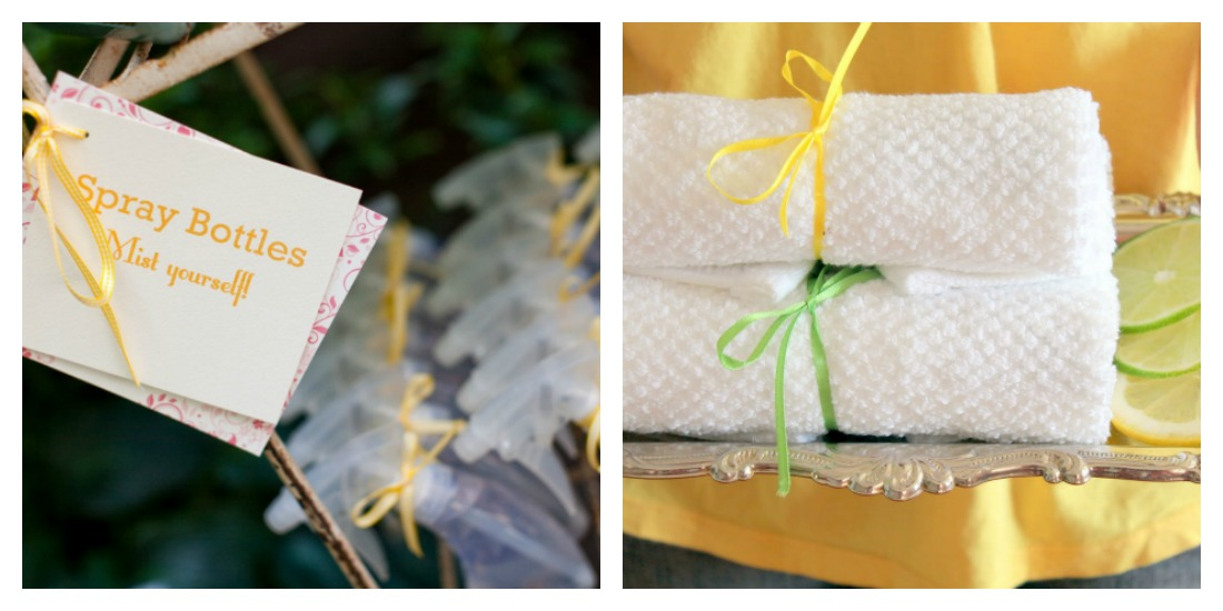 Chilled hand towels for summer weddings